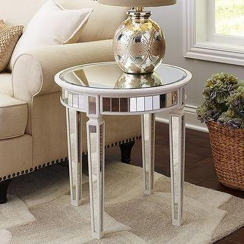 Merriweather End Table, Mirrored Panels Antique White Table
