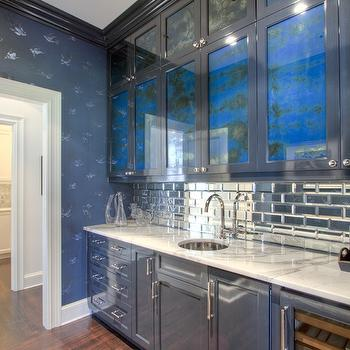 Butler Pantry with Mirrored Subway Tiles, Contemporary, Kitchen