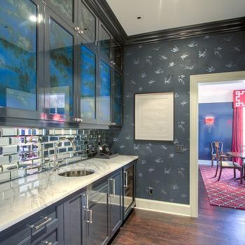 Gray Butlers Pantry with Mirrored Backsplash, Contemporary, Kitchen