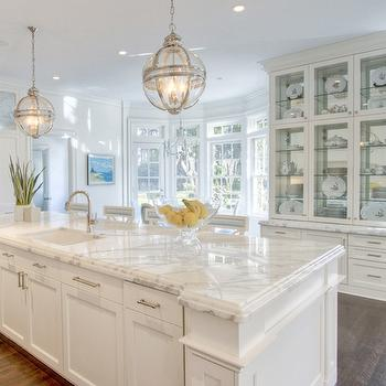 Long Kitchen Island with Two Lanterns, Transitional, Kitchen
