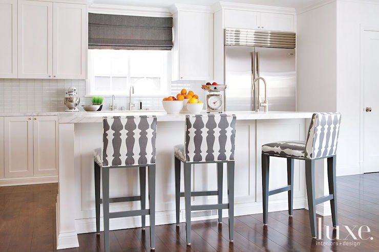 Kitchen with Gray Counter Stools  Transitional  Kitchen