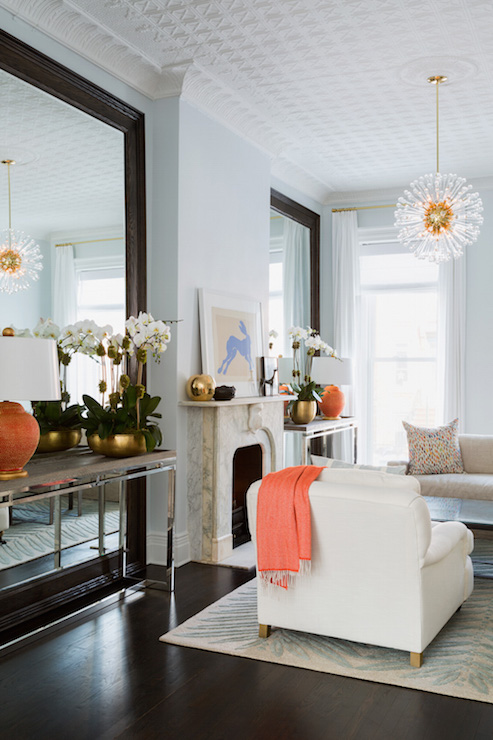 Console Table In Front Of Floor Mirror Transitional Living Room