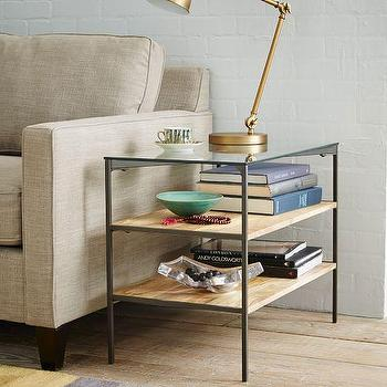 Glass Topped Rustic Storage Side Table