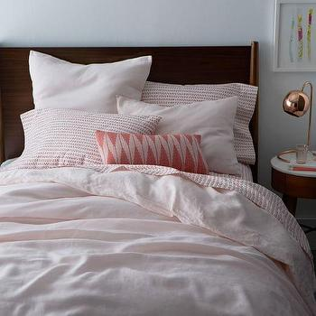 Belgian Linen Duvet Cover And Shams Pink Champagne