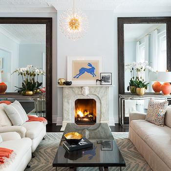 Blue and Orange Living Rooms, Transitional, Living Room