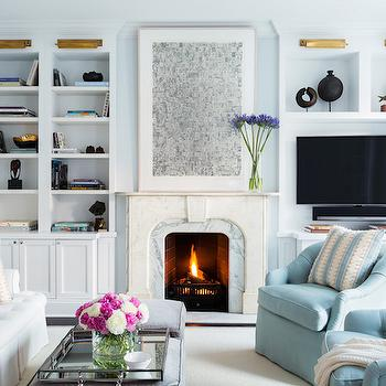 Blue Living Room Design, Transitional, Living Room