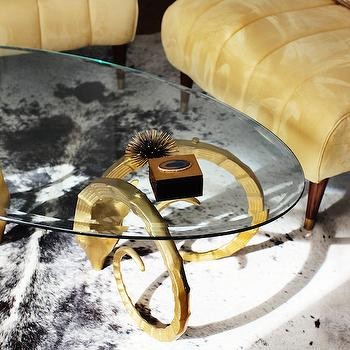 Brass Rams Head Coffee Table, Hollywood Regency, Living Room
