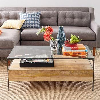 Glass Topped Rustic Storage Coffee Table