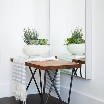 Iron and Wood Hairpin Bench, Modern, Entrance/foyer