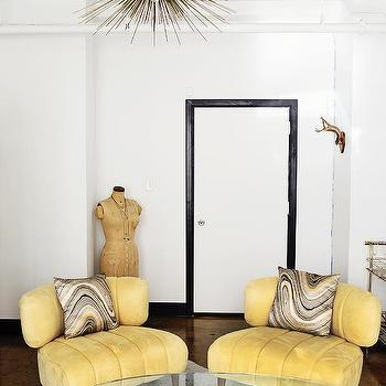 Yellow Velvet Vintage Chairs, Hollywood Regency, Living Room