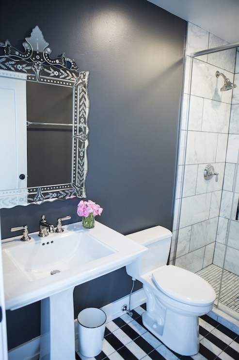 Bathroom With Black And White Floor Tiles Contemporary