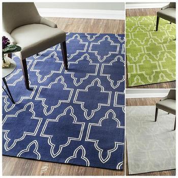 nuLOOM Flatweave Modern Geometric Printed Trellis Cotton Rug