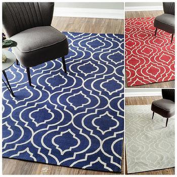 nuLOOM Flat Weave Modern Geometric Printed Trellis Cotton Rug