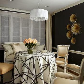 Black Walls with White Chair Rail, Contemporary, Dining Room