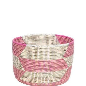 Knitting Basket, Rose Herringbone