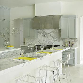 Gray Kitchen with Yellow Accents, Contemporary, Kitchen