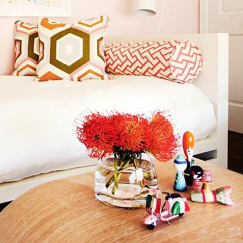 White Daybed with Pink Bolster Pillows, Contemporary, Girl's Room