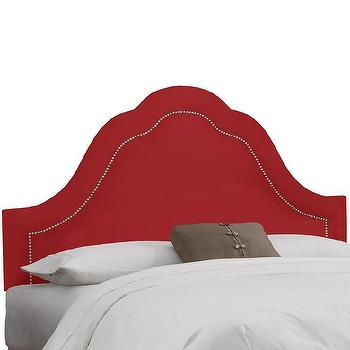 Made to Order High Arch Red Headboard with Nails
