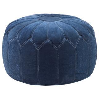Madison Park Kelsey Round Pouff Blue Ottoman