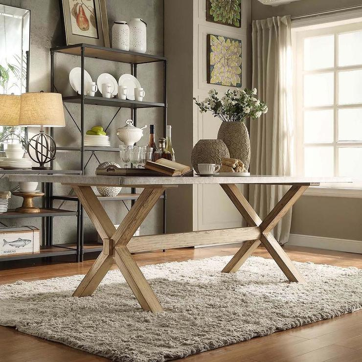 This Sleek And Rustic Industrial Table Would Look Great In: INSPIRE Q Aberdeen Industrial Zinc Top Weathered Oak