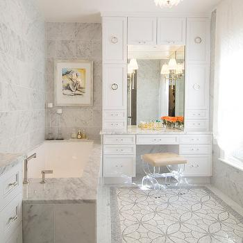 Lucite Stool Transitional Bathroom At Home In