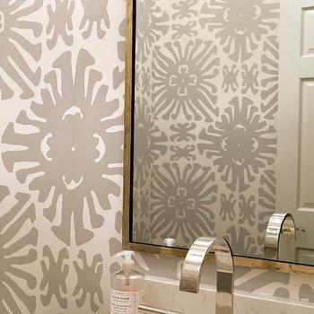 Gray Powder Room Wallpaper Transitional Bathroom