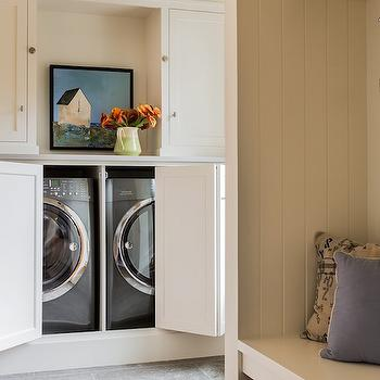 Washer and Dryer Cabinet with Folding Doors, Country, Laundry Room