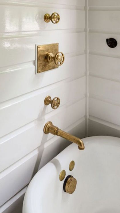 Antique Gold Shower Fixtures Transitional Bathroom