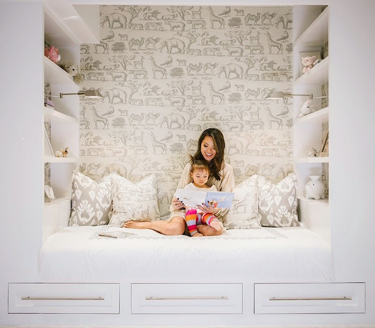 Kids Reading Nook With Shelves Transitional Girl S Room