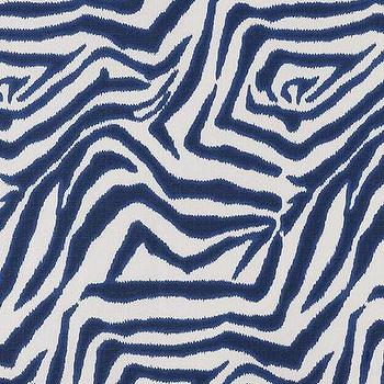 Marina Blue and White Zebra Ikat Fabric