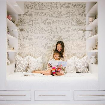 Kids Reading Nook with Shelves, Transitional, Girl's Room