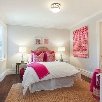 Teen Bedroom with Mirrored Nightstands, Transitional, Girl's Room
