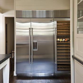 Wine Cooler Next to Refrigerator, Transitional, Kitchen