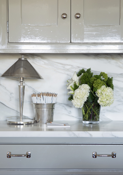 Glossy Gray Cabinets with White Marble Top - Transitional - Kitchen