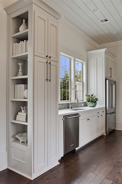 Kitchen With Built In Cookbook Shelves Transitional