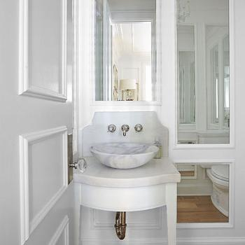 Powder Room with Marble Bowl Sink, French, Bathroom