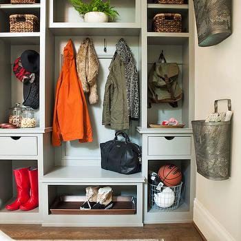 Mudroom with Metal Wall Baskets, Transitional, Laundry Room