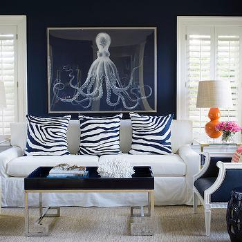 White and Navy Room with Orange Accents, Contemporary, Living Room