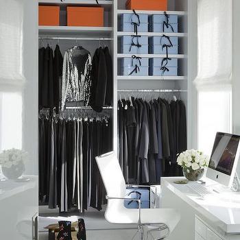 Desk in Walk In Closet, Contemporary, Closet