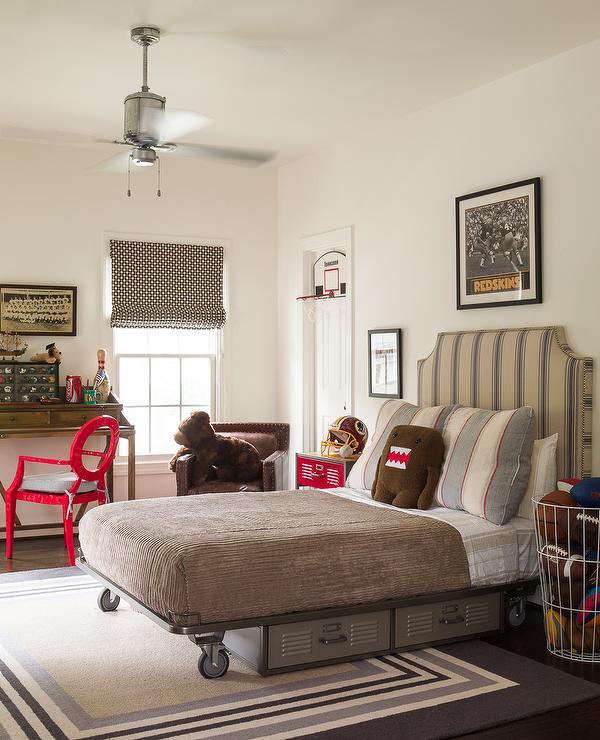 Wall Art Decor For Bedroom Upholstered Bedroom Sets Bedroom Decor With Brown Furniture Boy And Girl Bedroom Romance: Kids Industrial Platform Bed With Vinatge Metal Lockers