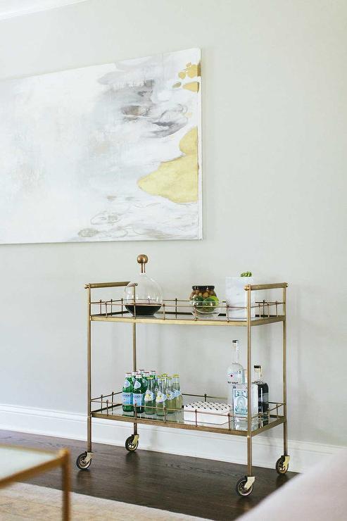 living room with gold bar cart transitional living room. Black Bedroom Furniture Sets. Home Design Ideas
