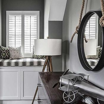 Gray Boys Room with Window Seat, Contemporary, Boy's Room