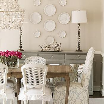 French Dining Table with White Cane Back Chairs, Transitional, Dining Room