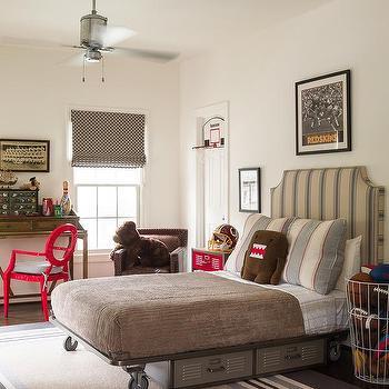 Kids Industrial Platform Bed with Vinatge Metal Lockers, Vintage, Boy's Room