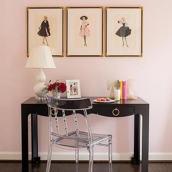 Pink and Black Kids Room, Transitional, Girl's Room
