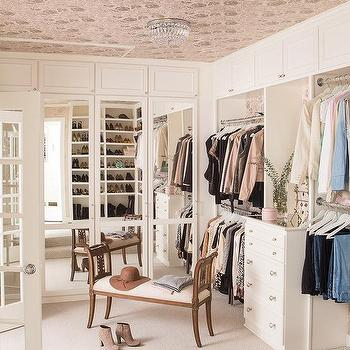Wallpapered Ceiling in Walk In Closet, Transitional, Closet