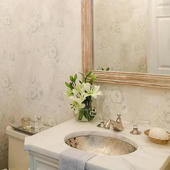 Powder Room with Oval Hammered Sink, Cottage, Bathroom