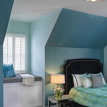 Bedroom with Tall Built In Window Seat, Contemporary, Bedroom