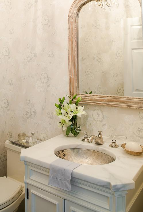Powder Room with Oval Hammered Sink - Cottage - Bathroom