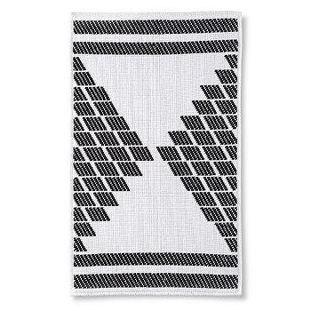 Nate Berkus Black White Textured Bath Rug